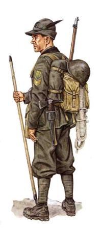 Sargento, Batallón Val d'Orco, 4to Regimiento Alpino, División de Infantería Taurinense, 1940.