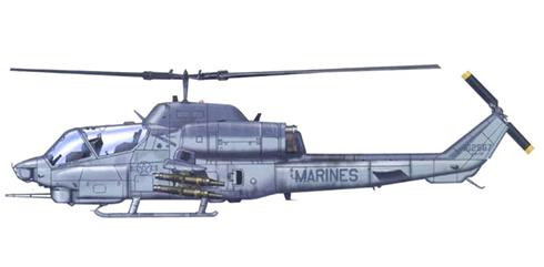 AH-1 W COBRA, US Marines, va equipado con misiles TOW.