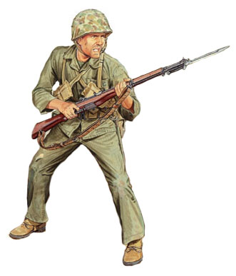 Soldados, Uniformes y Escenas de la Segunda Guerra Mundial (Dibujos y Pinturas) Marine-u-s-iwo-jima-19451