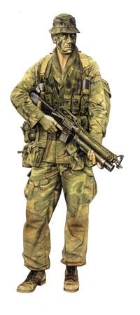 Miembro patrulla, Nueva Zelanda Special Air Service (NZSAS, Vietnam, 1970.