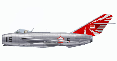 Mikoyan-Gurevich MIG-17 Fresco perteneciente a la Fuerza Aérea del Ejército Nacional de Indonesia, 1965.