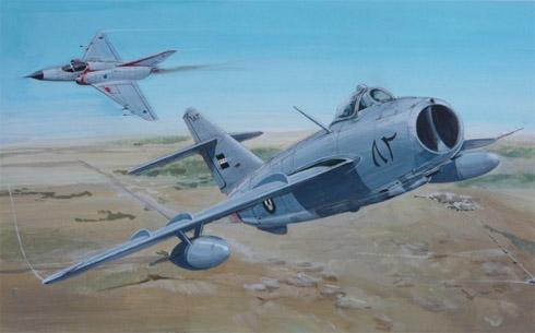 Mikoyan-Gurevich MiIG-17 Fresco de la Fuerza Aérea Siria en combate con un Kfir Israel, Guerra de los seis días, 1967.