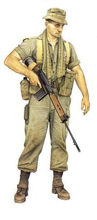 Soldado del 1er Real Regimiento Australiano, Vietnam, 1965.