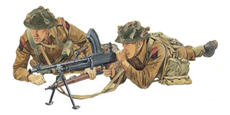 Soldados, Uniformes y Escenas de la Segunda Guerra Mundial (Dibujos y Pinturas) Soldados-infanteria-britanicos-normandia-francia-1944