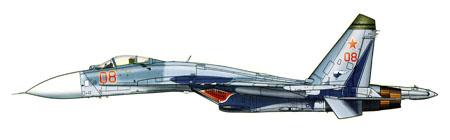 Sukhoi SU-27 FLANKER B, con boca de tiburón en las entradas de aire, Rusia.