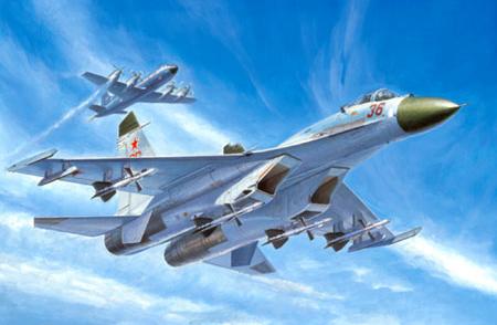 Sukhoi Su-27 Flanker B interceptando un P-3 Orion de la OTAN, Fuerza Aérea Rusa.