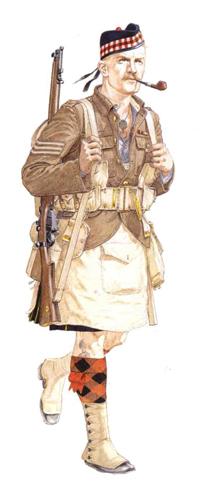 Sargento, 1er. Batallón, The Gordon Highlanders, Bélgica, 1914.