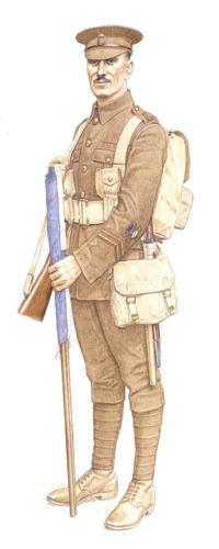 Soldado, 2º Batallón Royal Welsh Fusiliers, 19ª Brigada de Infantería, 1916.