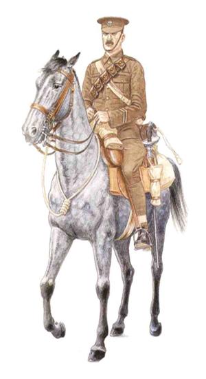 Soldado, 2º de Dragones, Royal Scots Greys, 5ª Brigada de Caballería, 1916.