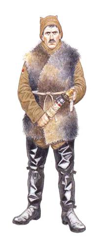 Soldado de Infantería con ropa de trinchera, Bélgica, invierno de 1915.