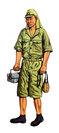 Soldado de Infantería con uniforme de faena tropical, 1940.