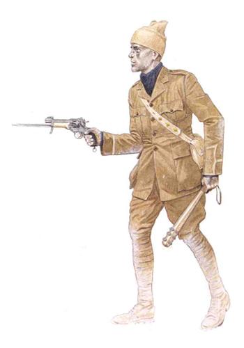 Teniente de Infantería con ropa de asalto, Bélgica, 1915.