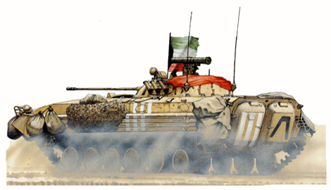 BMP-2, 35º Brigada Kuwait libre 'Al-Shaheed, Kuwait, Febrero de 1991.