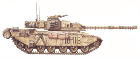 Challenger I Mk.2, Tanque de mando, Cuartel General del regimiento, 14º-20º King's Hussars, 4ª Brigada blindada, 1ª División blindada, Kuwait, 1991.