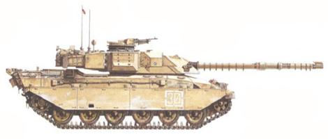 Challenger I Mk. 3, Escuadrón D, The Royal Scots Dragoon Guards, 7ª Brigada Blindada, Arabia Saudí, 1990.