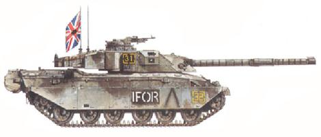 Challenger I Mk.3, The Queen's Royal Hussars, IFOR, Bosnia, Enero de 1996.