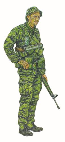 Jefe de equipo LRRP, Compañía F, 101ª División Aerotransportada, Vietnam, 1968.