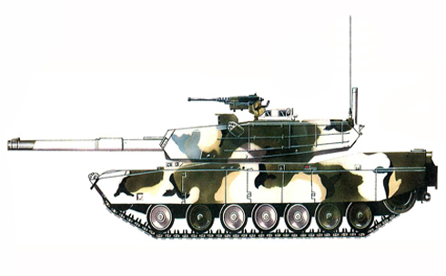 M1 Abrams, camuflaje para paisaje con nieve, arboles y arbustos.