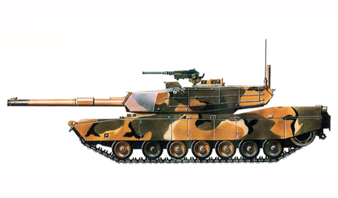 M1 Abrams, camuflaje verde para invierno en U.S. y Europa.