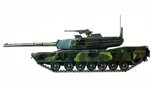 M1 Abrams, con camuflaje verde tropical
