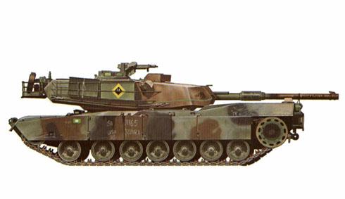 M1 Abrams, de la Compañía B, 3er. Batallón, 32º de Blindados, 1º de Caballería en el Centro Nacional de Entrenamiento, 1987.