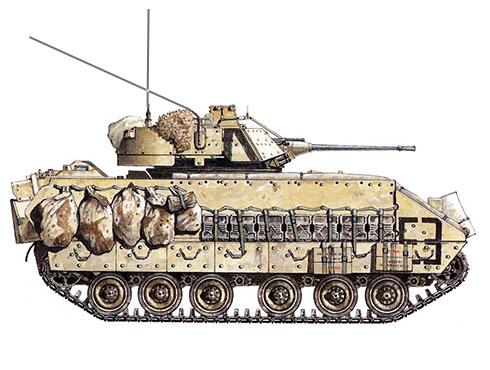 M3A2 Bradley, 3er. Regimiento de Caballería Blindada, XVIII Cuerpo Aerotransportado, Base Ar Rumaylah, Irak, 1991.