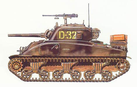 M4 A1 Sherman, 66º Regimiento de blindados, 2ª División de blindados, Normandía, Julio de 1944.