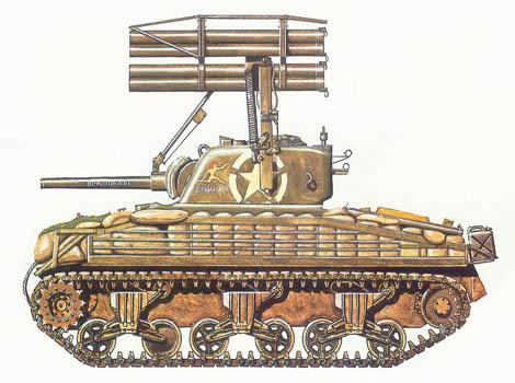 M4 A1 Sherman con T-34 Calliope MRL, A Co., 40 Batallón de tanques, 14 Div. de blindados, Obermodern, Alemania, Marzo de 1945.