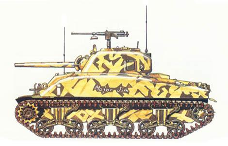 M4 A1, Sherman, HQ Co, 2º Batallón, 13º Regimiento de blindados, 1ª División de blindados, Túnez, 1943.