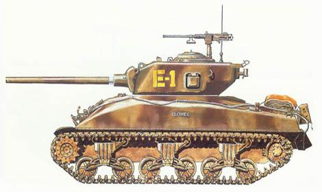 M4 A1 Sherman, W Co., 2ª División de blindados, Península de Cotentín, Normandía, Julio de 1944.