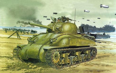 M4 A3 Sherman, Dia D, Desembarco de Normandía, Francia, 6 de Junio de 1944.