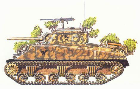 M4 Sherman, 3ª Sección, 8º Batallón de blindados, Britanny, Julio de 1944.