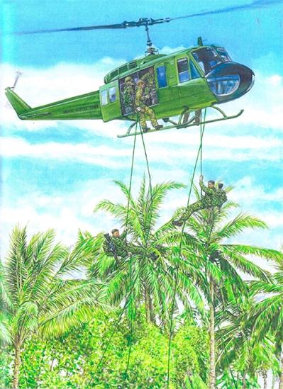 Miembros de LRRP descienden haciendo rappel desde un helicóptero UH-1 D Huey, Vietnam, 1967.
