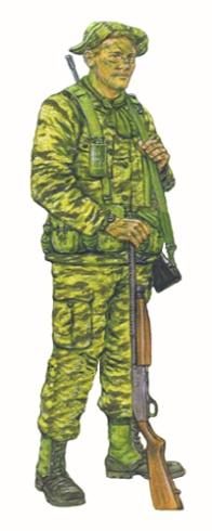 Rastreador equipo LRRP, Compañía F, 101ª División Aerotransportada, Vietnam, 1968.