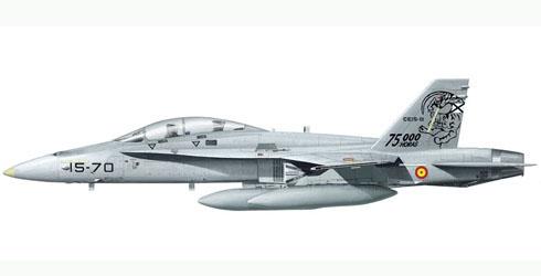 FA-18 Hornet, Ala 15, Ejercito del Aire, Spanish Air Force, esquema conmemorativo 75.000 horas.