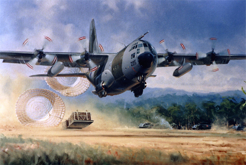 Lockheed C-130 C1 Hercules descargando aprovisionamiento, Royal Air Force.