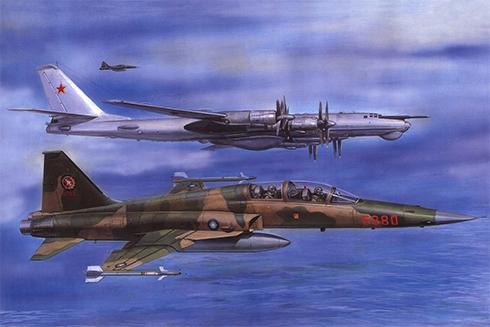 Una pareja de F5 F Tiger II de la Fuerza Aérea de la República de China escoltan a un bombardero Túpolev Tu-95 Bear.