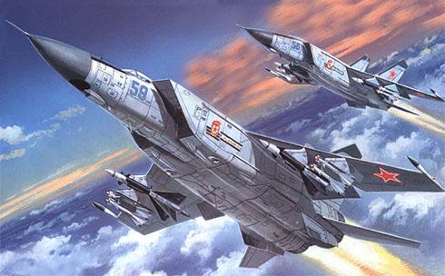Dos MiG-25 Foxbat, Fuerza Aérea de la URSS, 1982.