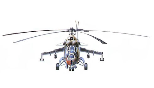 Vista frontal de un Mil Mi-24 V Hind E, 3er. Squadron, Polish Air Force.