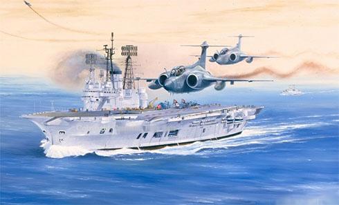 Dos Hawker Siddeley Buccaneer de la Royal Navy sobrevuelan el portaaviones HMS Ark Royal.