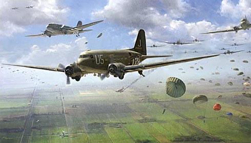 Varios Douglas C-47A Skytrain lanzan paracaidistas en los campos de Normandía, junio de 1944.