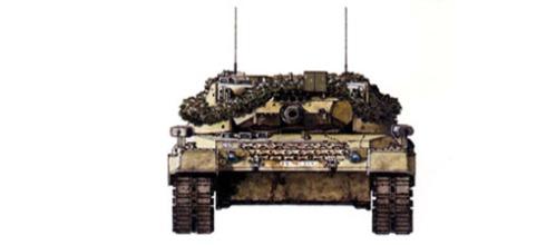 Vista frontal de un Leopard 1 A1A3.