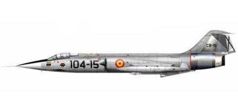 Lockheed-Canadair F-104 G Starfighter, Ejercito del Aire, 104 Escuadrón, Base Aérea de Torrejón de Ardoz, España, 1968.