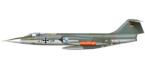 Lockheed F-104 G Starfighter, Luftwaffe, Jabog 36, con base en Reinhe, 1972.