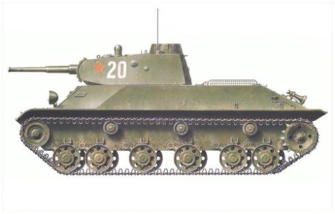 Carro de combate ligero T-50, 488º Batallón de tanques, Grupo de combate del Norte, Frente Caucasiano, Octubre de 1942.