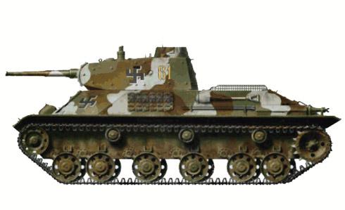 Este tanque T-50 Finlandés ha sido pintado con camuflaje tricolor, Finlandia, 1942.