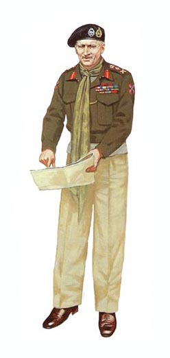 General Sir Bernard Law Montgomery, Comandante en Jefe del 21º Grupo del Ejército Británico, 1944.