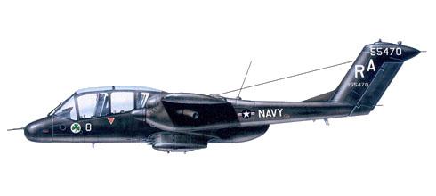 Un OV-10A Bronco pintado en negro brillo, VS-41 unidad de entrenamiento, NAS North Island, San Diego, California, 1971.