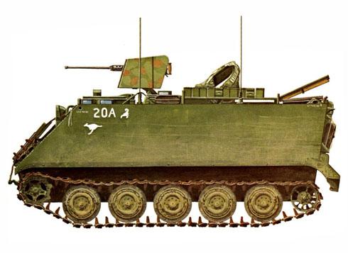M113A1 del ejército Australiano, va armado con ametralladora del calibre 50, Vietnam, 1970.