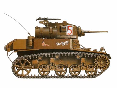 M3 A1 Stuart del 3er. Batallón de tanques de USMC, Bouganville, 1943.